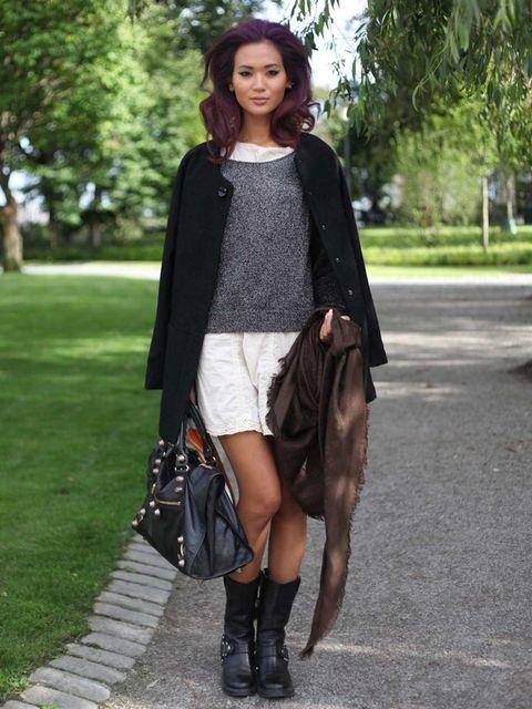 <p>Myu, Model. Acne coat, vintage dress and boots, Louis Vuitton scarf.</p>