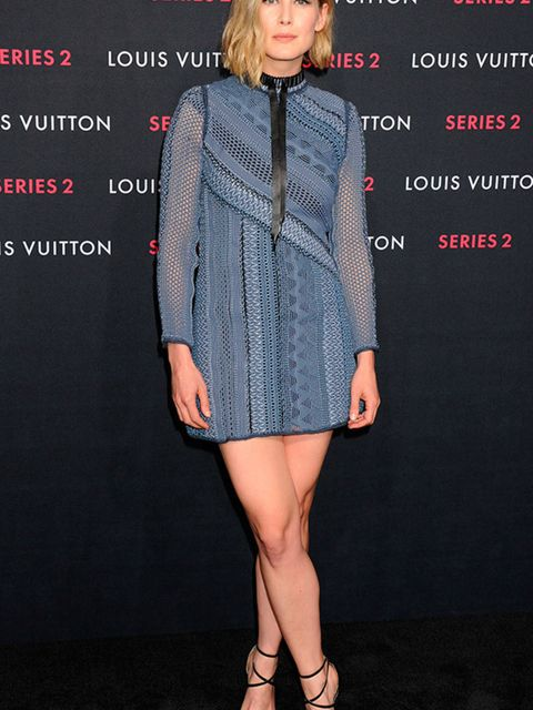 <p>Rosamund Pike at the Louis Vuitton Series 2 Exhibition in Los Angeles, February 2015.</p>