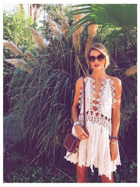 <p>Rosie Huntington-Whiteley (@rosiehw)</p>  <p>'Coachilling in @chloe @coach @coachella'</p>