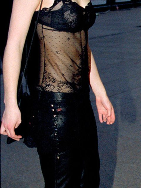 <p>At one of her first red carpet events, Keira Knightley channels the underwear as outerwear trend at the<em>Bridget Jones Diary</em> premiere in London, April 2001.</p>