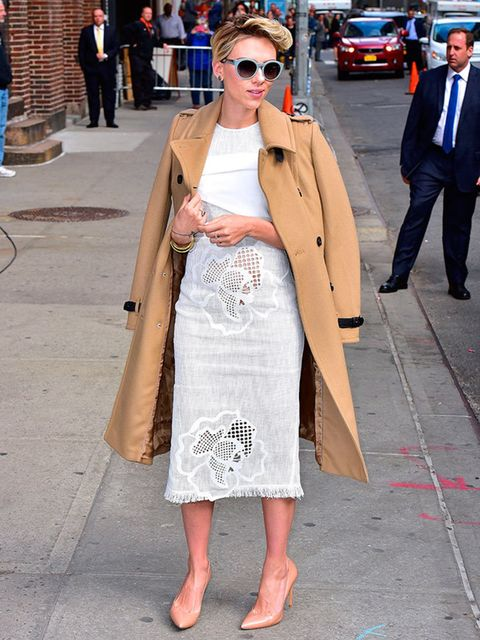 Scarlett Johansson arrives for her appearance on The Late Show with David Letterman in New York, April 2015.