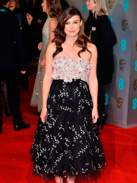 Keira Knightley wears Giambattista Valli to the EE BAFTA British Academy Film Awards in London, February 2015.