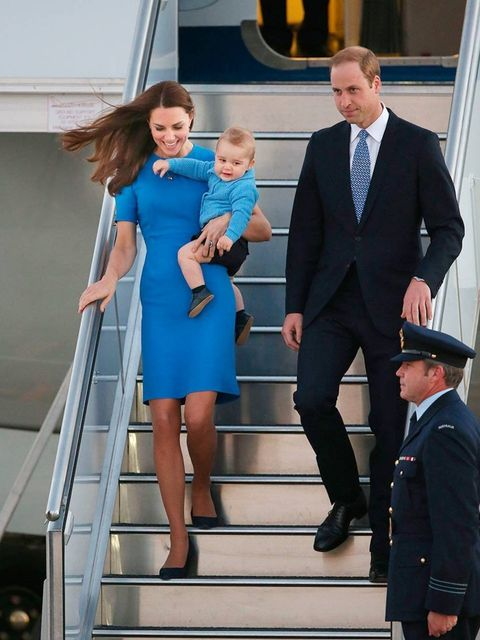 "<p>Kate wearing <a href=""http://www.elleuk.com/catwalk/designer-a-z/stella-mccartney/autumn-winter-2014"">Stella McCartney</a> arrives at RAAF base Fairbairn in Canberra with William and <a href=""http://www.elleuk.com/star-style/celebrity-style-files/princ"