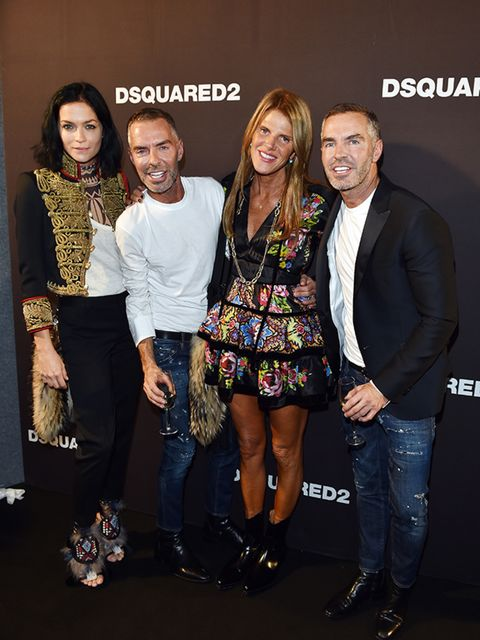 <p>Leigh Lezark, Dean Caten, Anna Dello Rusoo and Dan Caten at the DSquared2 s/s 16 show during Milan Fashion Week.</p>