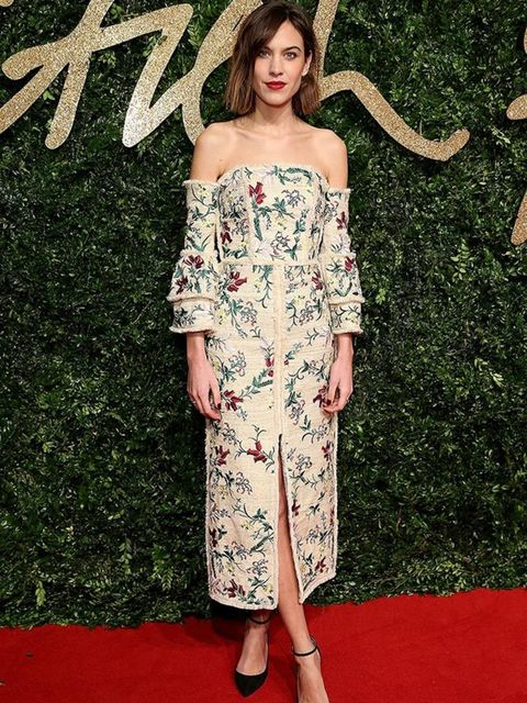 <p>Alexa Chung wears Erdem to the British Fashion Awards in London, November 2015.</p>