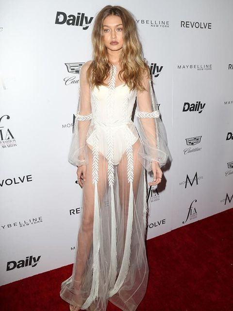 <p>Gigi Hadid wearing Stuart Weitzman heels at the LA Fashion Awards in California, March 2016.</p>