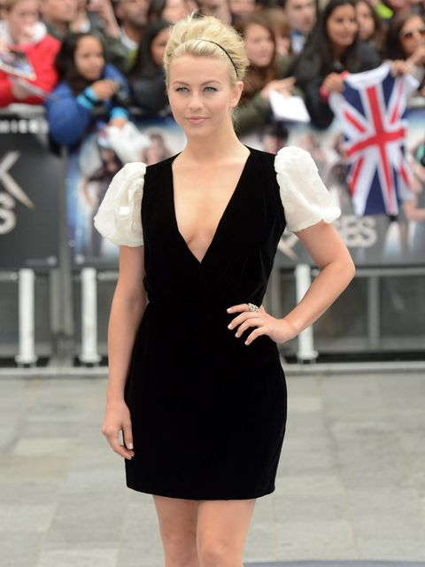 <p>Actress and dancer Julianne Hough (who plays an aspiring singer, Sherrie Christian), wore Valentino at the European premiere of Rock Of Ages in London's Leicester Square.</p>