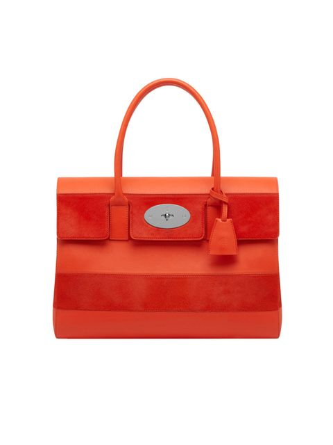 <p>Mulberry Bayswater with stripes in fiery red, spring/summer 2014</p>