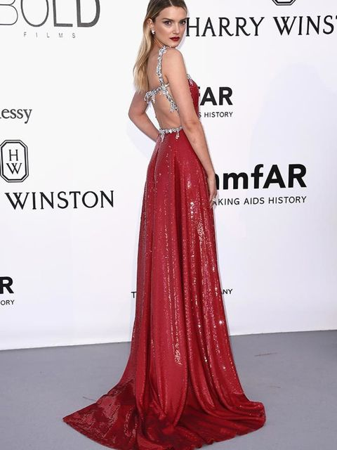 <p>Lily Donaldson on the amfAR red carpet, May 2016.</p>