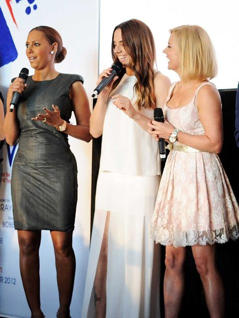 <p>Geri Halliwell, Mel C and Mel B at the Viva Forever press launch in London. Geri wore a self-made dress, while Mel C wore full length Acne and Jimmy Choo shoes. Mel B wore a Lanvin dress and Louboutins.</p>