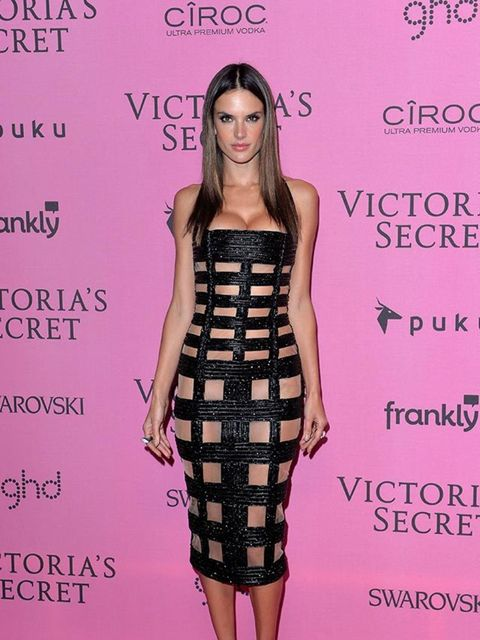 <p>Alessandra Ambrosio wears Balmain s/s 2015 dress at the Victoria's Secret Fashion Show in London, December 2014.</p>