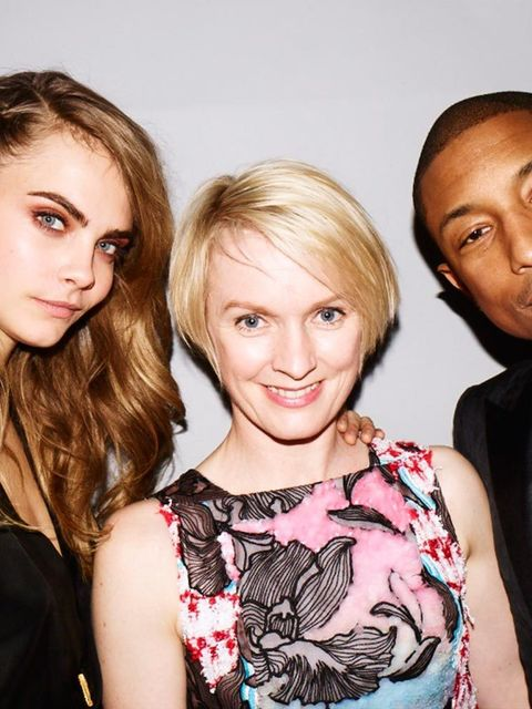 <p>Cara Delevingne, Lorraine Candy and Pharrell in 2014</p>