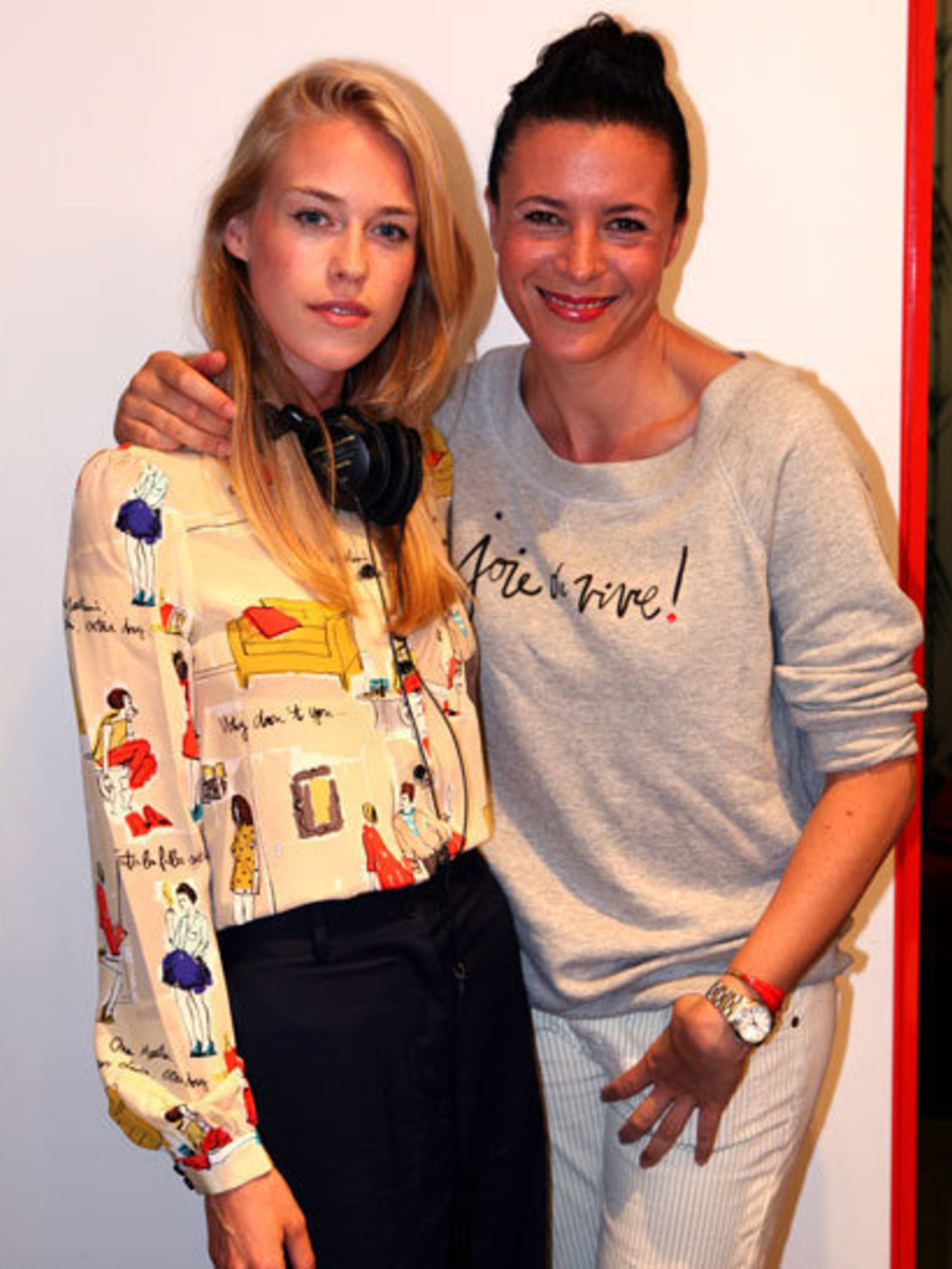 <p>Mary Charteris and Garance Dore at the Kate Spade party</p>