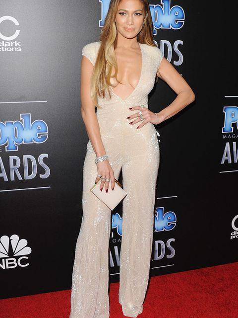"<p><a href=""http://www.elleuk.com/tags/jennifer-lopez"">Jennifer Lopez</a> wears a Naeem Khan jumpsuit to the People Magazine Awards in California, December 2014.</p>"