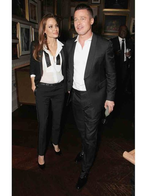 <p>Angelina Jolie and Brad Pitt at the BAFTA after party.</p>