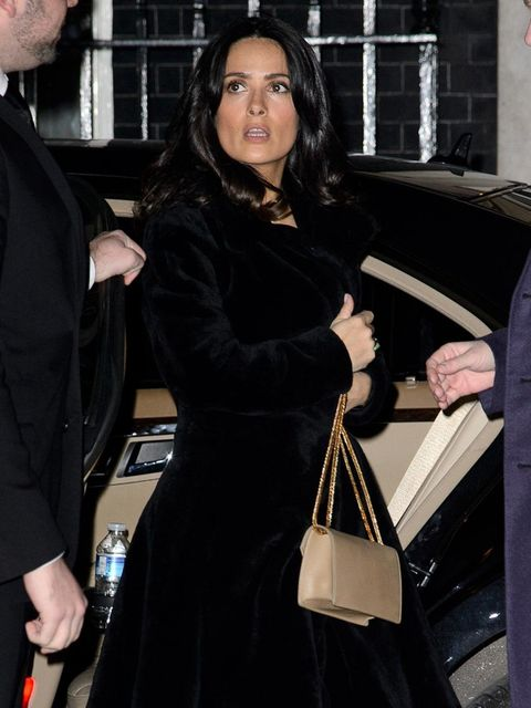 <p>Salma Hayek arrives at 10 Downing St.</p>