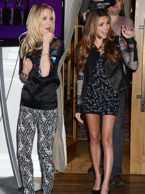 <p>Sarah Harding and Nadine Coyle at the Girls Aloud Tour Announcement</p>