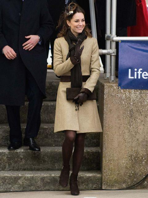 <p>Kate Middleton wears Katherine Hooker coat February 2012</p>