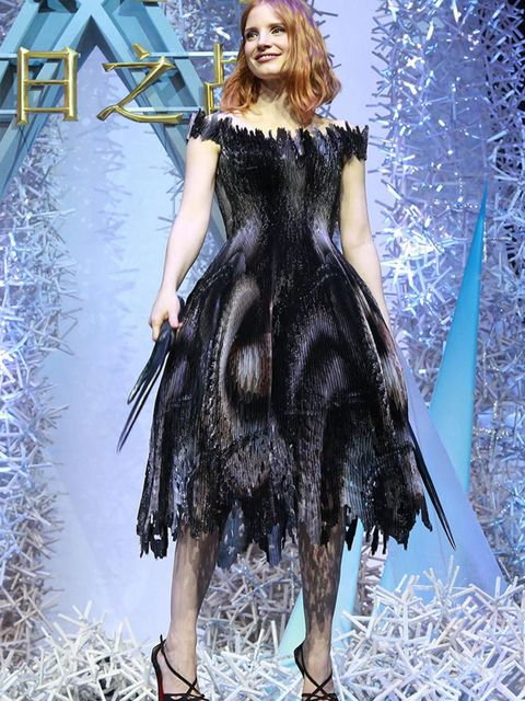 Jessica Chastain wears Giles for the Beijing press conference for The Huntsman: Winters War, April 2016.