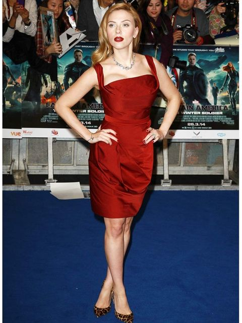 <p>Scarlett Johansson wears a Vivienne Westwood Red Label a/w 2014 dress with Christian Louboutin animal-print Iriza pumps and Sonia Boyajian jewels to the Captain America: The Winter Soldier London premiere</p>