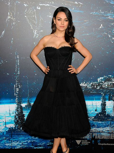 Mila Kunis wears Dolce & Gabbana at the film premiere of Jupiter Ascending in Los Angeles, February 2015.