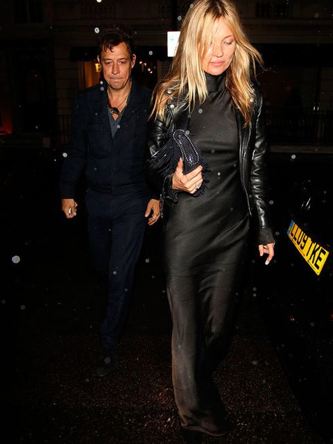 Kate Moss and Jamie Hince arrive for the Maison Martin Margiela Couture Spring 2015 show in London, January 2015.