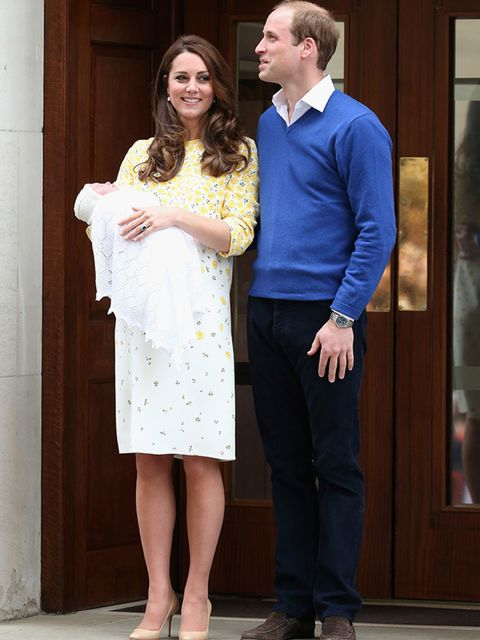 The first picture of the Duke and Duchess of Cambridge with their baby daughter - the new princess - around 10 hours after her birth. Kate wore a bespoke silk shift dress with buttercup print by Jenny Packham and, unlike with the birth of Prince George, t