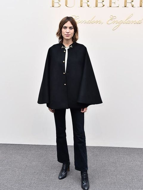 Alexa Chung at the Burberry AW16 show during London Fashion Week, February 2016.