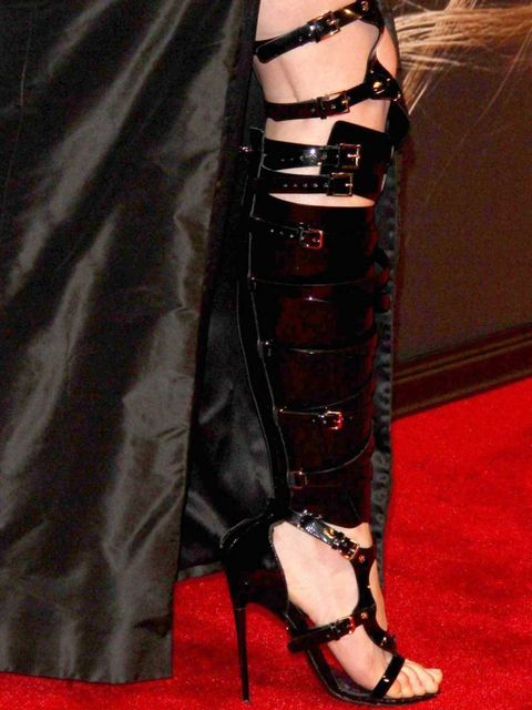 <p>Anna Hathaway's Tom Ford bondage boots</p>