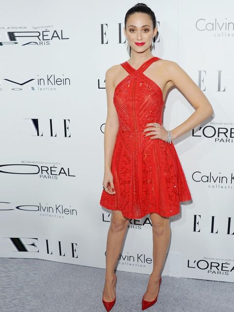 "<p>Emmy Rossum wears an <a href=""http://www.elleuk.com/catwalk/designer-a-z/elie-saab/spring-summer-2013"">Elie Saab</a> Resort 2014 halter-neck cocktail dress to ELLE's 20th Annual Women In Hollywood celebration, October 2013.</p><p><a href=""http://www.el"