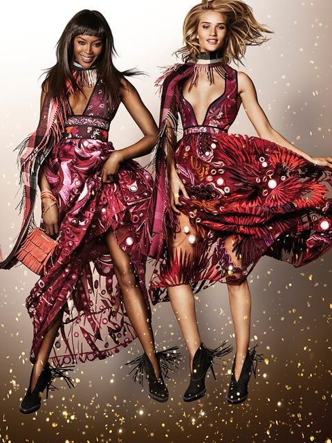 <p>Naomi Campbell and Rosie Huntingdon-Whiteley in the Burberry Festive campaign</p>