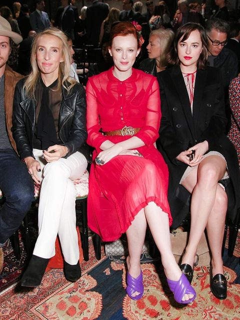 <p>Aaron and Sam Taylor-Johnson attend the Gucci Cruise 2015 show in New York, June 2015.</p>