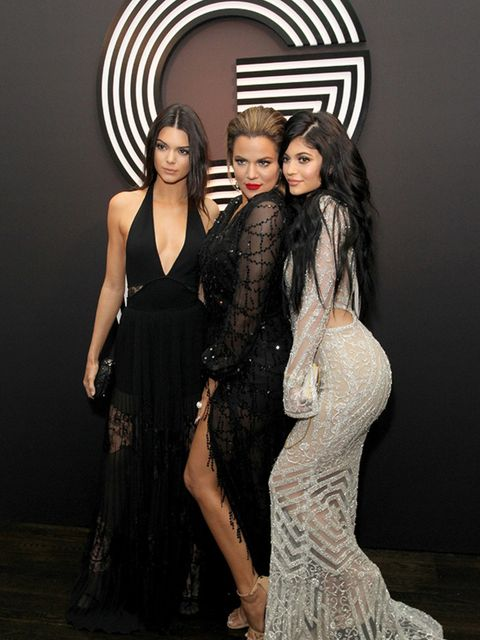 <p>Kendall Jenner, Khloe Kardashian and Kylie Jenner attend GQ And Giorgio Armani's Grammys After Party, February 2015.</p>