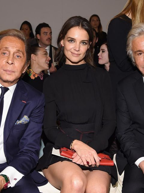Valentino Garavani, Katie Holmes, and Giancarlo Giammetti at the Valentino Sala Bianca 945 Event in New York, December 2014.