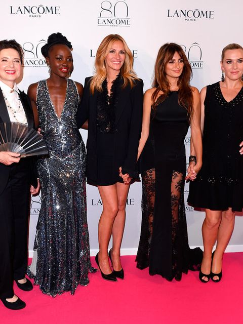 Isabella Rossellini, Lupita Nyong'o, Julia Roberts, Penelope Cruz and Kate Winslet attend the Lancôme 80th Anniversary celebration during the Paris Haute Couture a/w 2015 shows in Paris, July 2015.