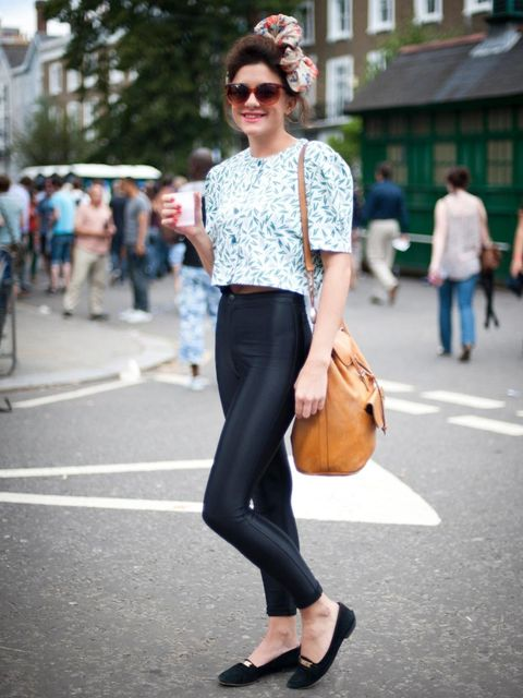 <p>Katie, 23. Beyond Retro top, American Apparel trousers, Topshop shoes, We're House bow, vintage glasses and bag, Barrymore nails.</p>