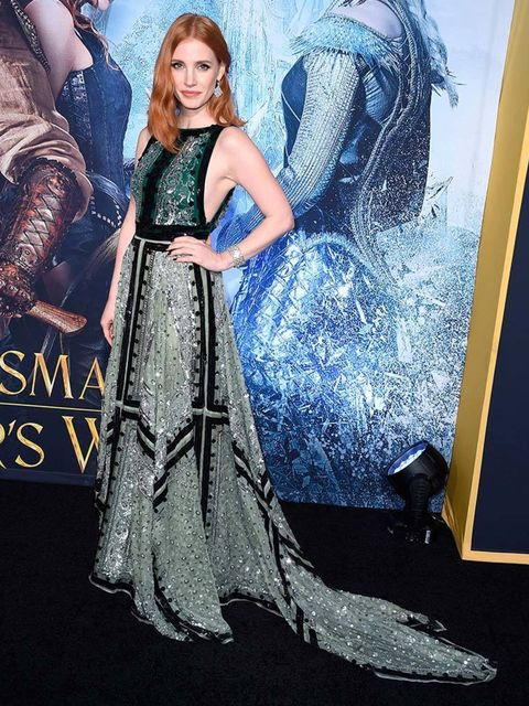 Jessica Chastain at the premiere of The Huntsman: Winters War in California, April 2016.