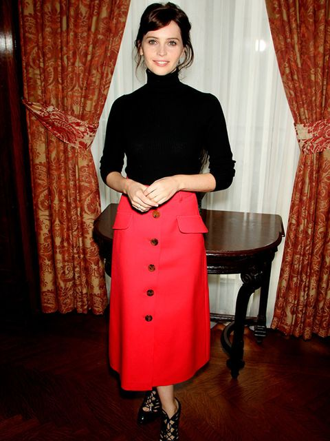 Felicity Jones at The Theory of Everything film luncheon in New York, October 2014.