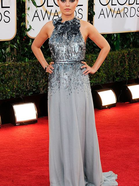 Mila Kunis wears Gucci at the 71st Annual Golden Globe Awards in Los Angeles, January 2014.