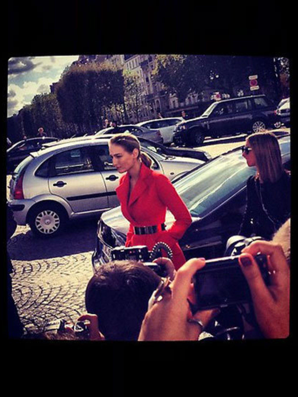<p>Leelee Sobieksi at Christian Dior Spring Summer 2013 </p>