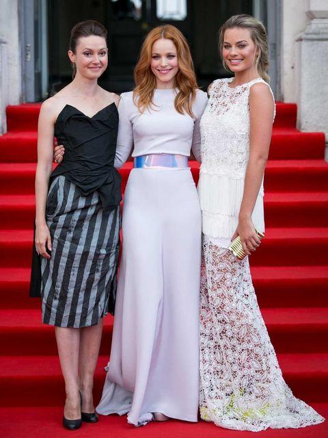 <p>Lydia Wilson (in Vivienne Westwood), Rachel McAdams (in Roksanda Ilincic) and Margot Robbie (in Ermanno Scervino)</p>