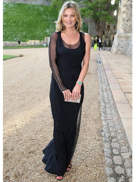 <p>Kate Moss wears Christian Louboutin Audrey sandals and a silver clutch to the Duke of Cambridge's Royal Marsden dinner. </p>