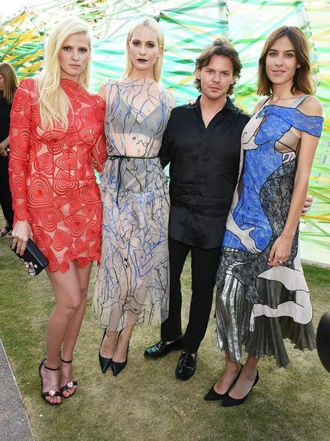 <p> Christopher Kane with Lara Stone, Poppy Delevingne, Alexa Chung at the Serpentine Summer Gallery Party in London, July 2015.</p>