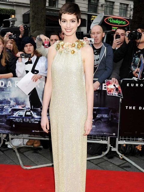 <p>Anne Hathaway attends the European premiere of The Dark Knight Rises in London's Leicester Square. She plays Selina Kyle – a.k.a Catwoman – in the film and wore Gucci and Tiffany on the red carpet.</p>