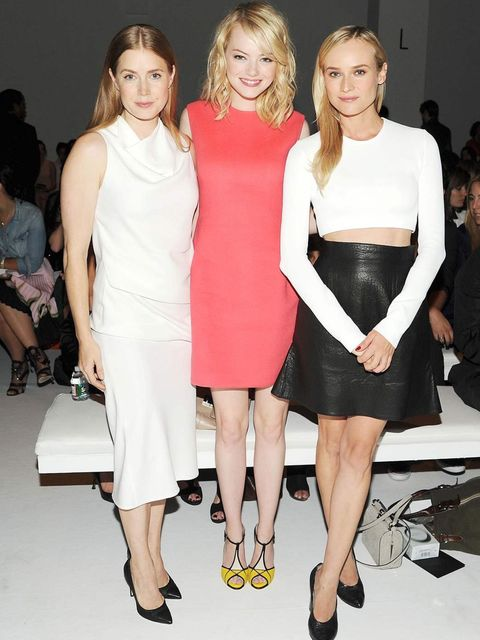 <p>Amy Adams, Emma Stone and Diane Kruger at the Calvin Klein Spring Summer 13 show.</p>