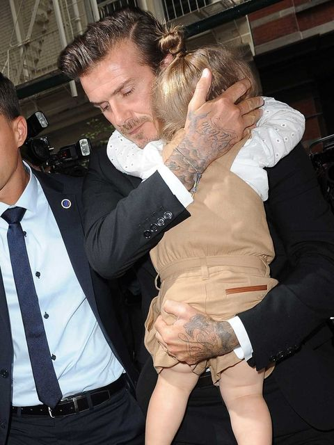 <p>David and Harper arrive at Balthazar after the Victoria Beckham s/s 2014 show</p>