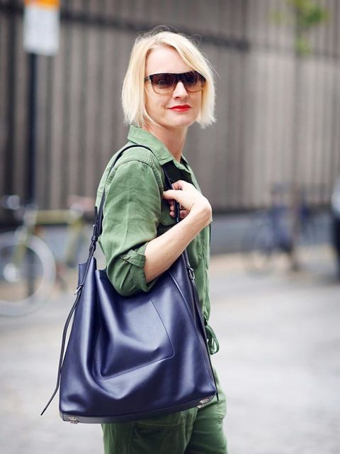 <p>Lorraine Candy, Editor-in-Chief </p>  <p>Topshop boiler suit, AllSaints bag, Office shoes</p>