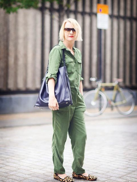 """<p>Lorraine Candy, Editor-in-Chief</p><p><span style=""""line-height:1.6"""">Topshop boiler suit, AllSaints bag, Office shoes</span></p>"""