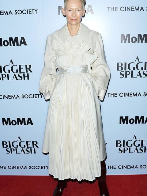 Tilda Swinton wears Maison Margiela Artisanal designed by John Galliano to the premiere of A Bigger Splash, April 2016.