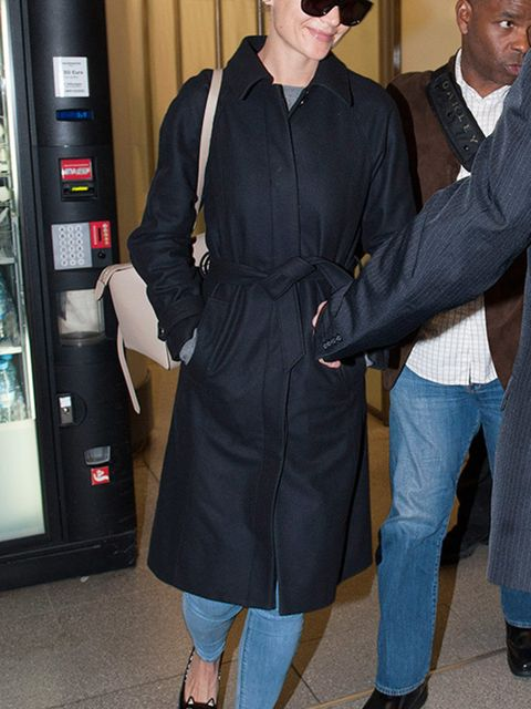 <p>Katie Holmes arrives at Berlin airport, Germany, January 2015.</p>